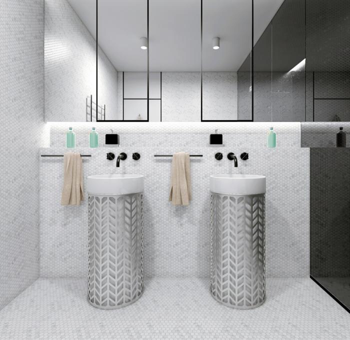 baño de encanto en estilo contemporáneo, baños modernos con grandes espejos en gris y blanco