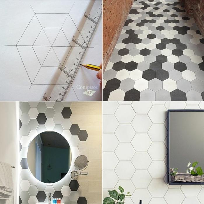 alicatar baños como hacer baldosas hexagonales, pasos para hacerlas en blanco y negro