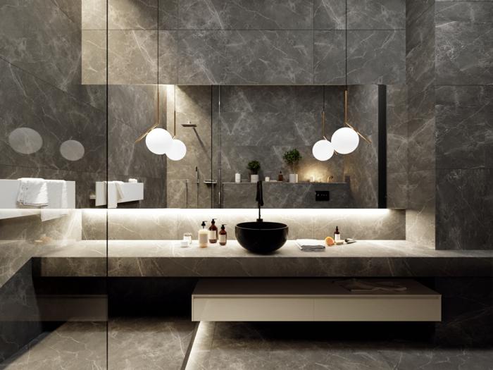 baños modernos de diseño, azulejos en color gris, muebles modernos, cabina de ducha