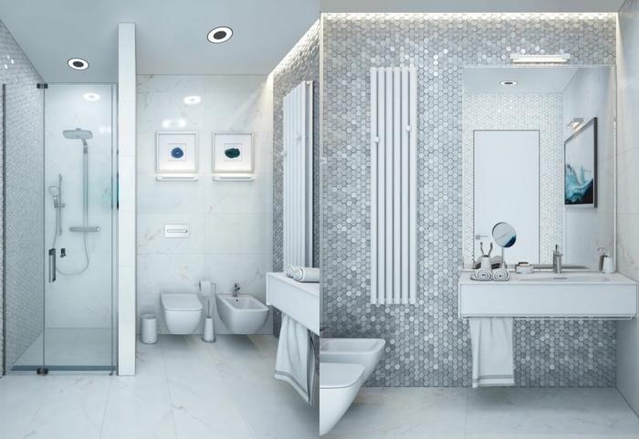 decoracion de baños grises con muebles en blanco, diseño de encanto, suelo con baldosas blancas y luces empotradas