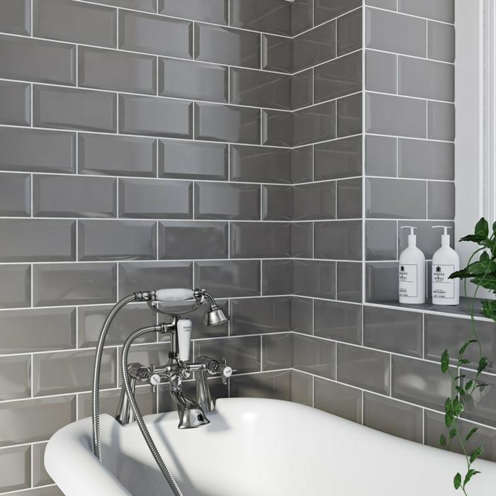 baño moderno en estilo contemporáneo, paredes con azulejos en gris ceniza, bañera moderna, ideas de cuartos de baño modernos