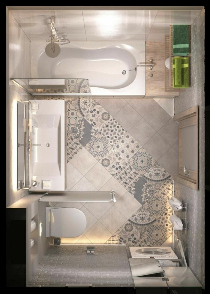 azulejos para baños, visto desde arriba, azulejos de motivos étnicos en colores crema, beige y azul