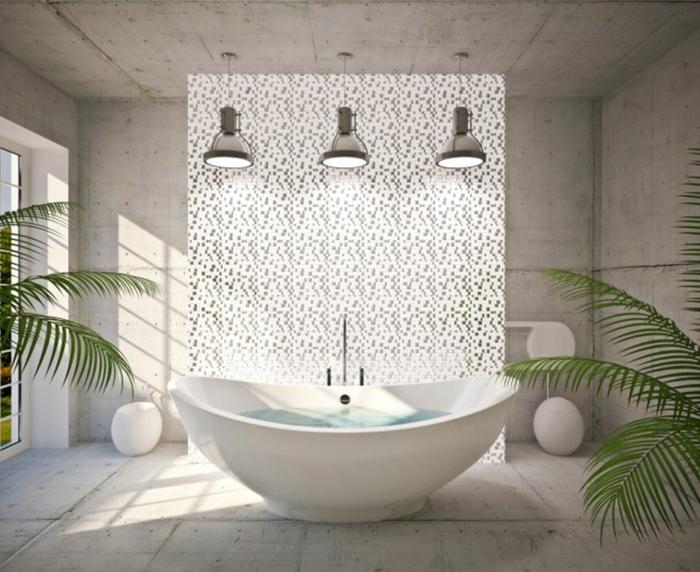 baños grises de alucinante diseño, espacio grande en blanco y gris, lámparas modernas y bañera oval