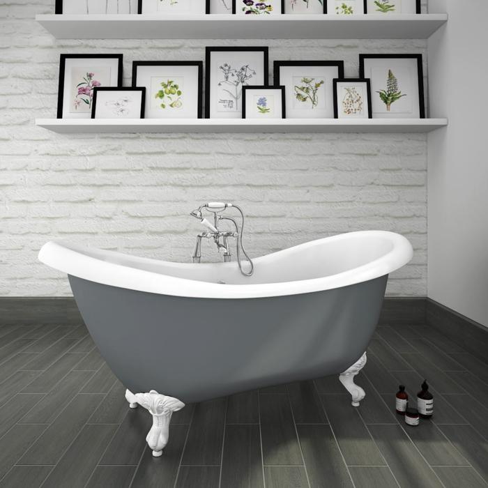 ideas de azulejos para baños pequeños, cuartos de baño en blanco y gris con decoración moderna