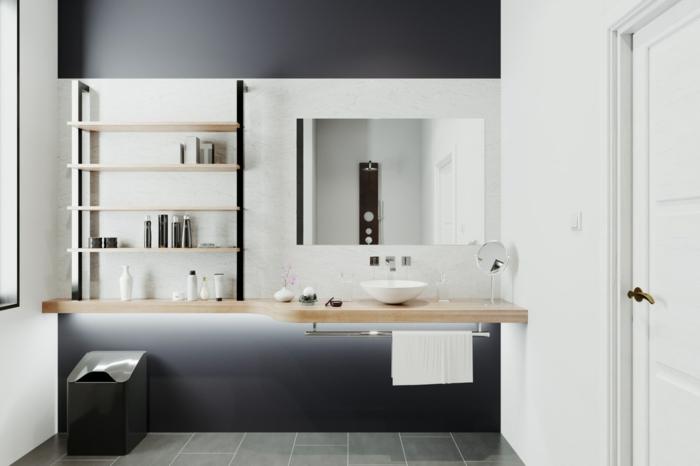bonitas ideas de azulejos para baños pequeños, baño decorado en gris, blanco y negro