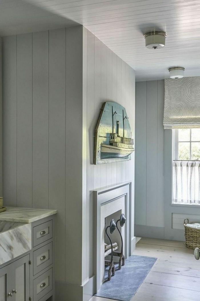 azulejos para baños pequeños ideas, decoración moderna en los tonos del gris, suelo de parquet