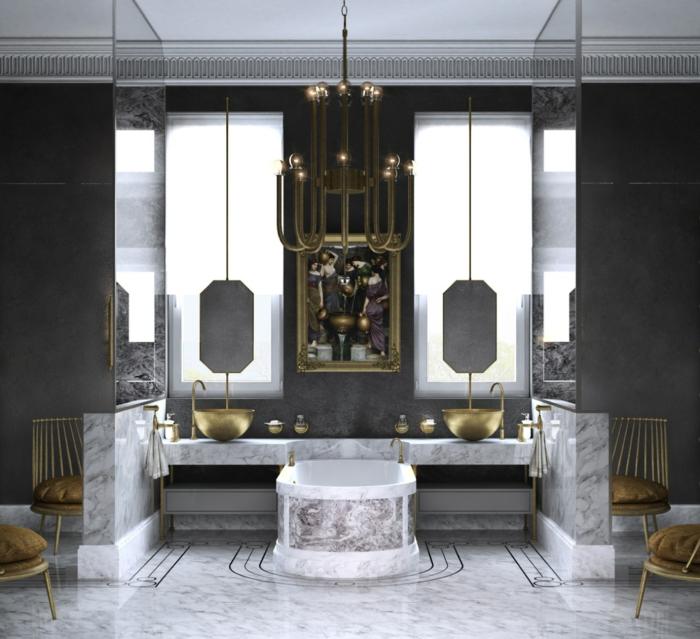 preciosa decoración en estilo ecléctico, azulejos para baños pequeños en gris y negro, detalles en cobrizo