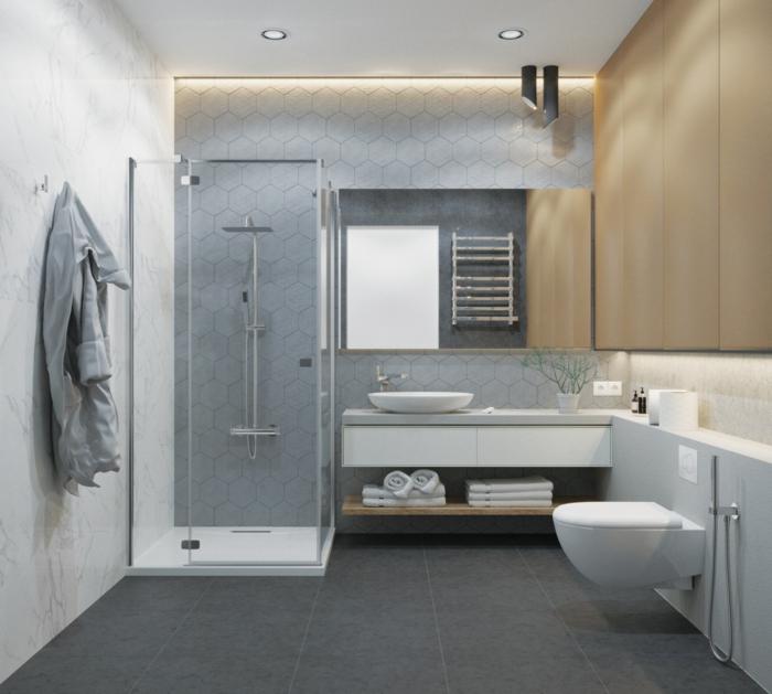 azulejos para baños pequeños de diseño, cuarto de baño con detalles geométricos, baldosas gris oscuro