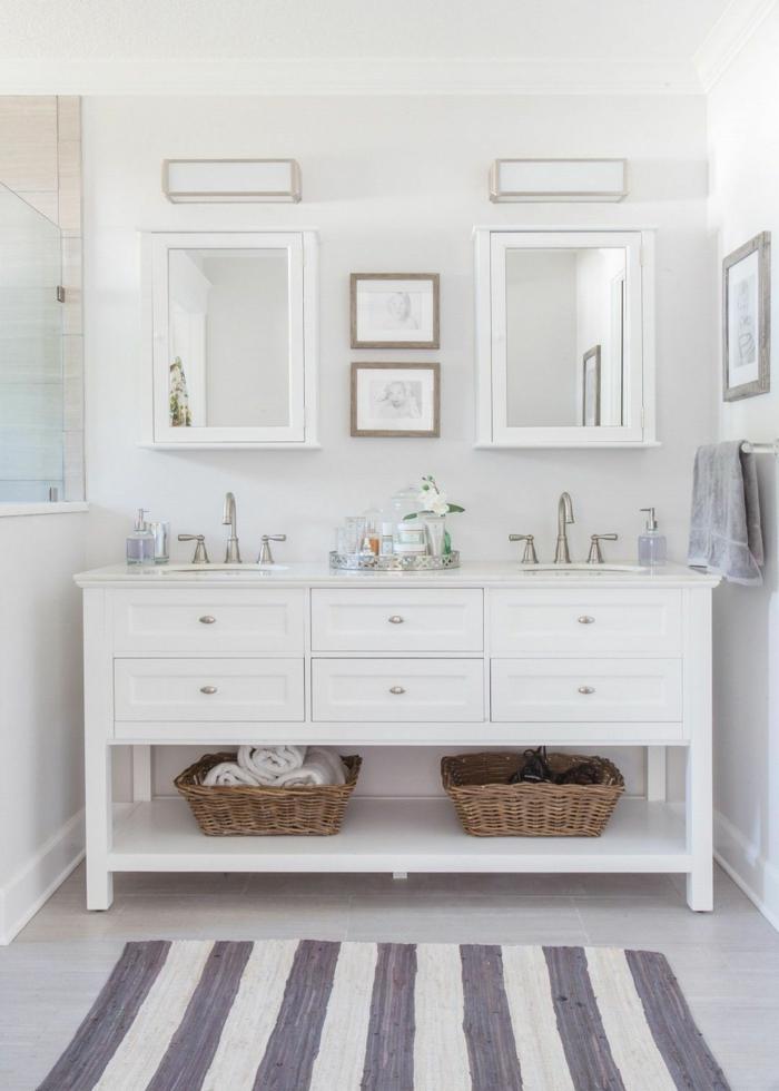 fotos de baños modernos y consejos de decoración, paredes en blanco, baldosas en gris y alfombra