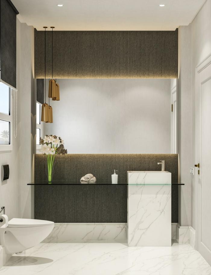 fotos de baños modernos decorados en blanco y gris, suelo de mármol, decoración con flores y luces empotradas