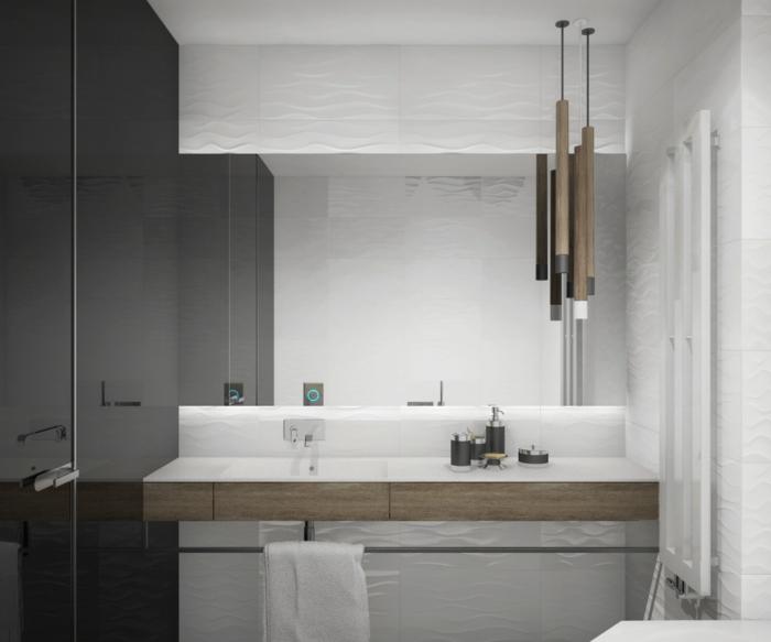 fotos de baños modernos decorados de diseño, decoracion en blanco y gris con detalles de madera