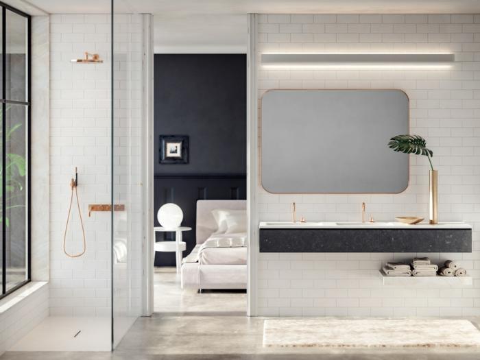preciosas ideas de decoracion baños, baño con cabina de ducha, cortinas de vidrio, grande espejo moderno en dorado