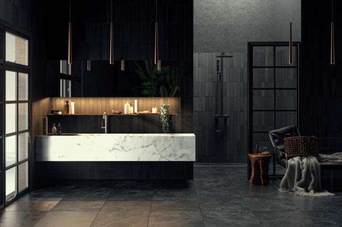 baño decorado en estilo contemporáneo colores oscuros, lavabo con encimera de mármol, decoracion baños