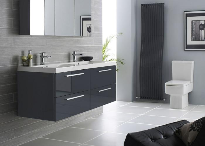 consejos de decoración y fotos de baños modernos decorados en gris y blanco estilo minimalista