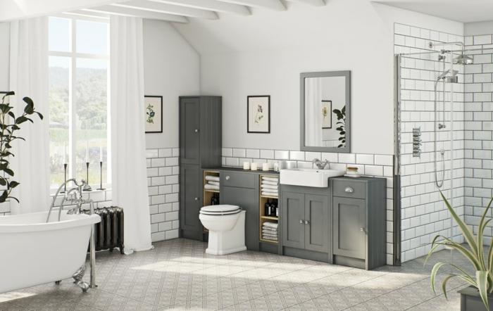 preciosas ideas de decoracion baños grandes, azulejos de diseños, cortinas blancas y bañera patas garra