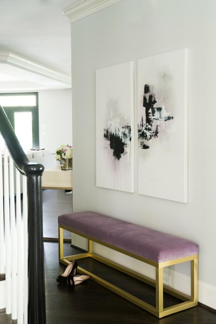 decoracion super moderna recibidor de encanto, banco vintage de terciopelo en color lila y dorado
