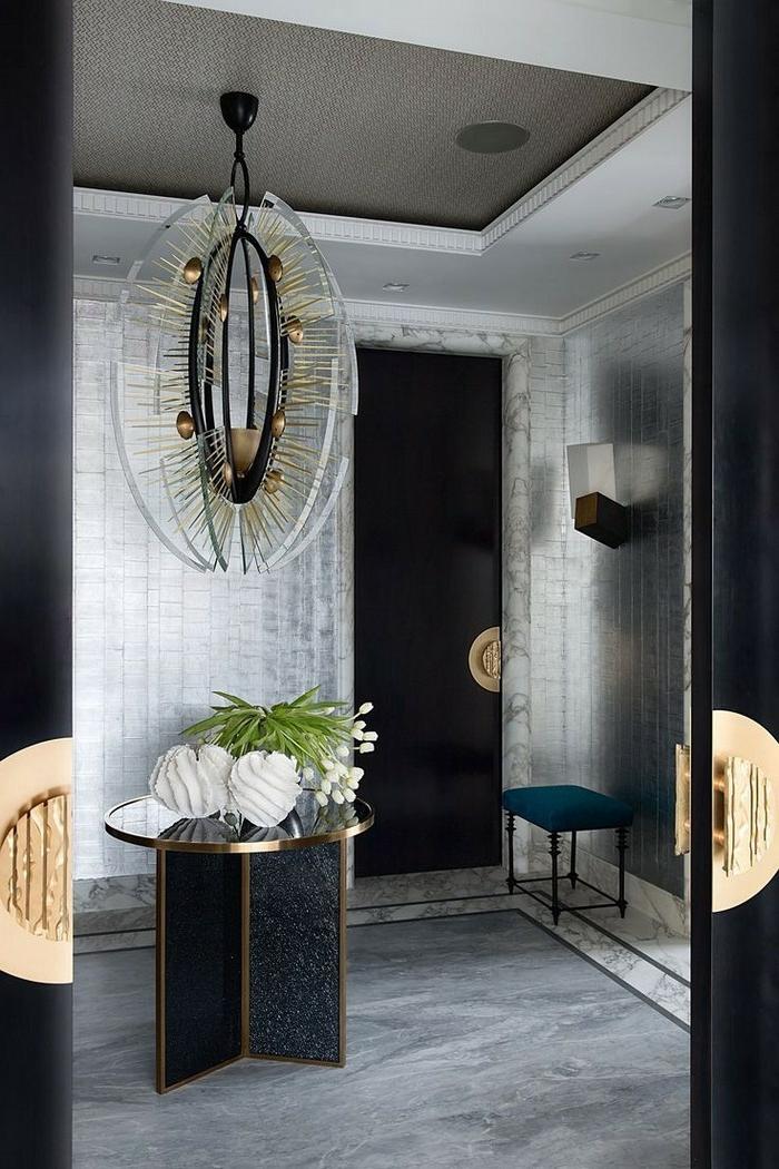 decoración de encanto entraditas modernas, mesa de diseño, decoración de flores, suelo de mármol