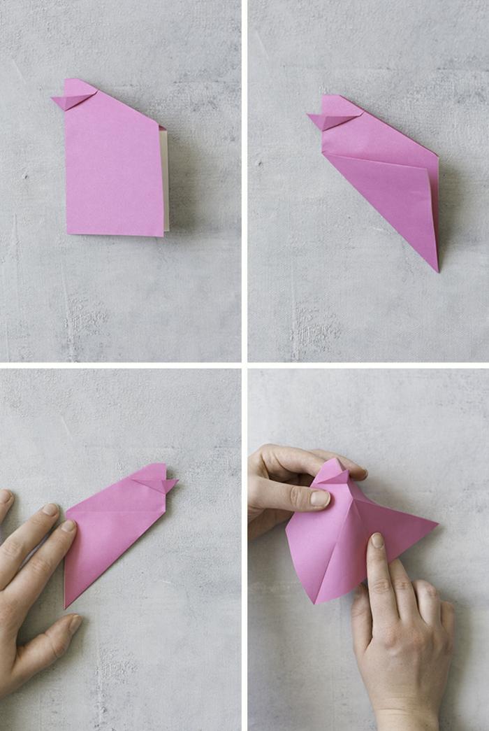 tutoriales en imágines para hacer origami fácil, pollo de papel para decorar la mesa en Pascua paso a paso