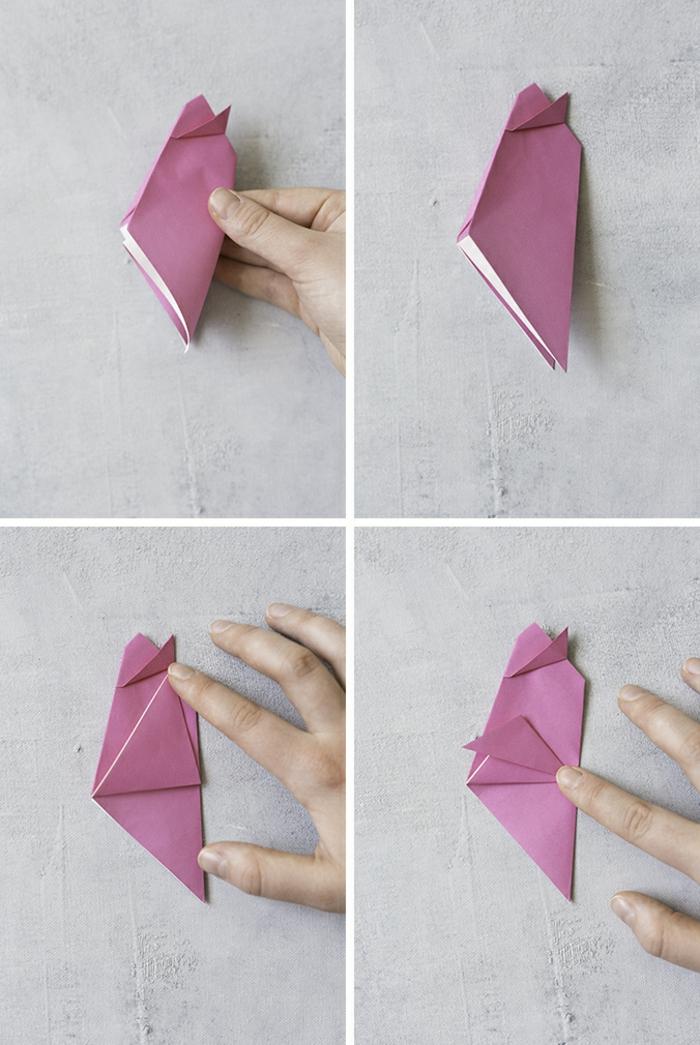 ideas DIY con tutoriales, como hacer un pollo de papel en morado, origami fácil para niños y adultos