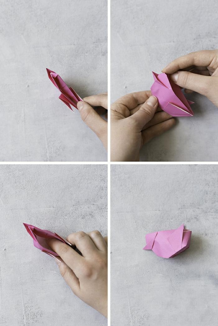 pequeños detalles hechos a mano con papel, papiroflexia animales paso a paso, pequeño polo para Pascua