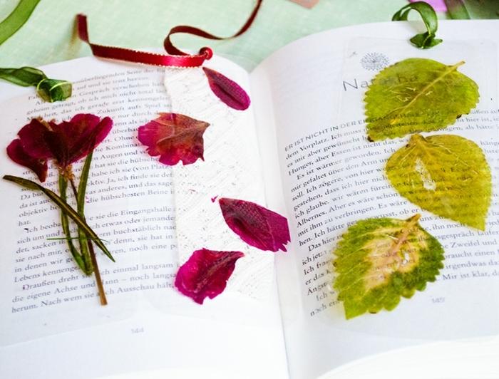 marcarpaginas manualidades super originales, separadores de libros con flores secas paso a paso