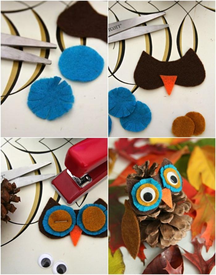 ideas de manualidades originales para pequeños y adultos, buhos decorativos hechos de piñas y fieltro