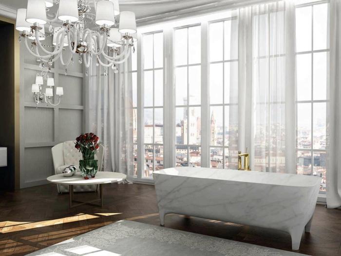 ejemplos de cuartos de baño de diseño con imágines, baño sofisticado con bonita vista