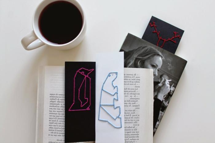 manualidades originales para regalar, separadores de libros DIY con animales, bonitas ideas