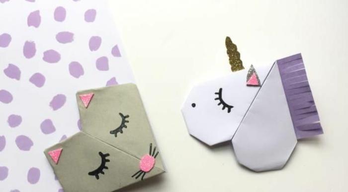 marcarpaginas infantiles de encanto, pequeños detalles para regalar, marcarpaginas gato y unicornio