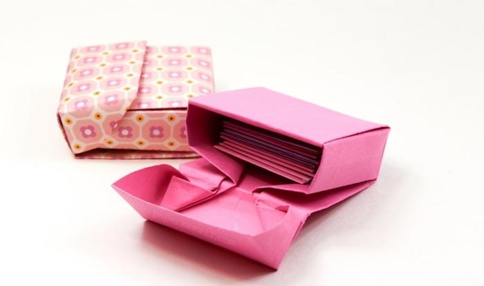 bonitas ideas de origami fácil, cajas de papel colorida hechas con papiroflexia, manualidades originales