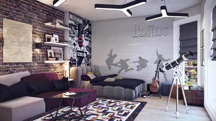 camas compactas juveniles, The Beatles con suelo de parquet con sillones de color morao, lila y gris