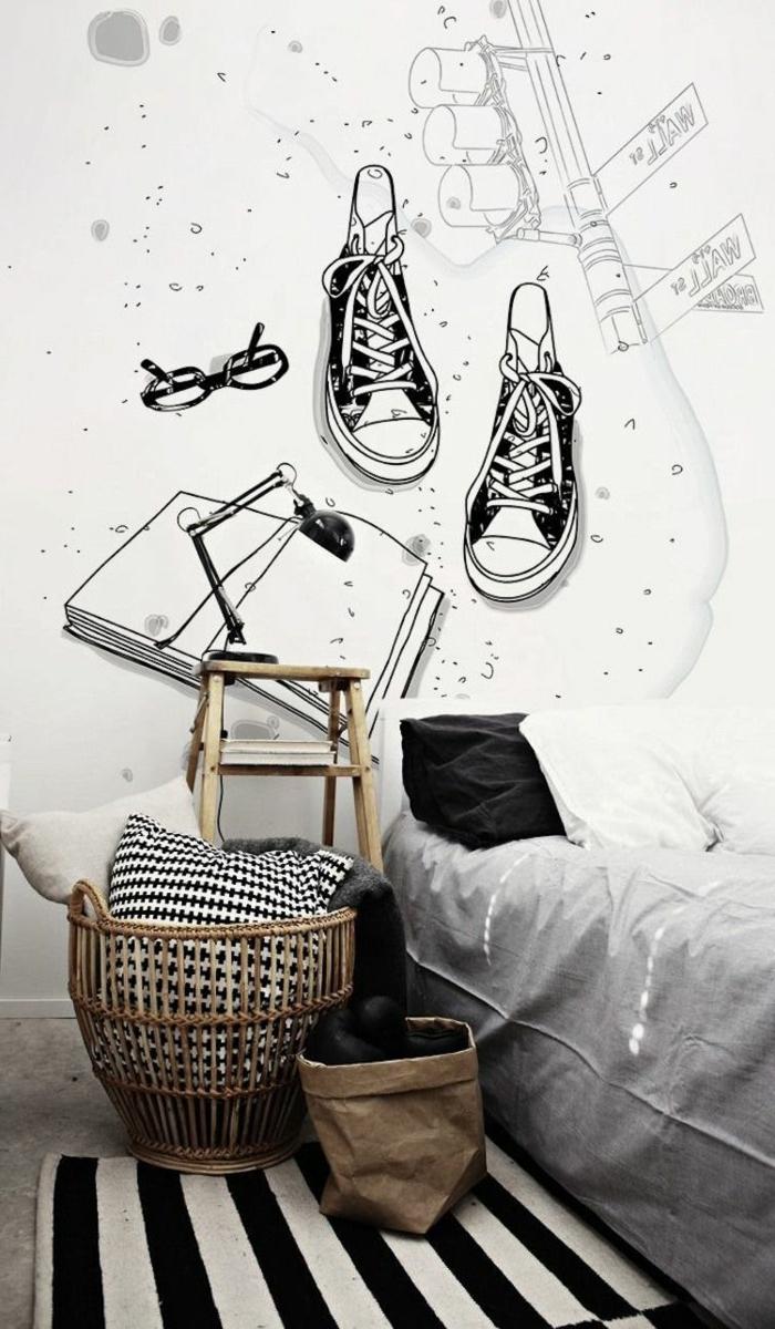 camas compactas juveniles, zapatillas decortivas dibujadas en la pared, cama con sabanas grises, alfombra