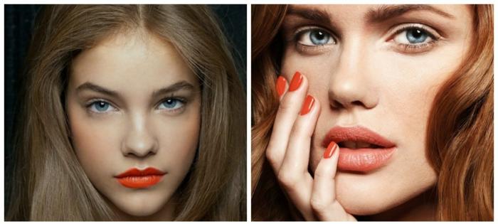 labios grandes pintados en los tonos naranja, maquillaje natural y sensible, ideas y consejos