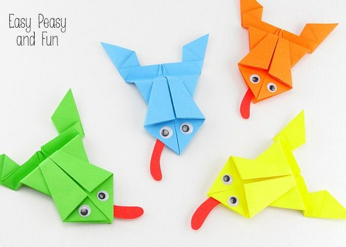ranas coloridas hechas con papel, ideas de manualidades originales paso a paso, papiroflexia animales
