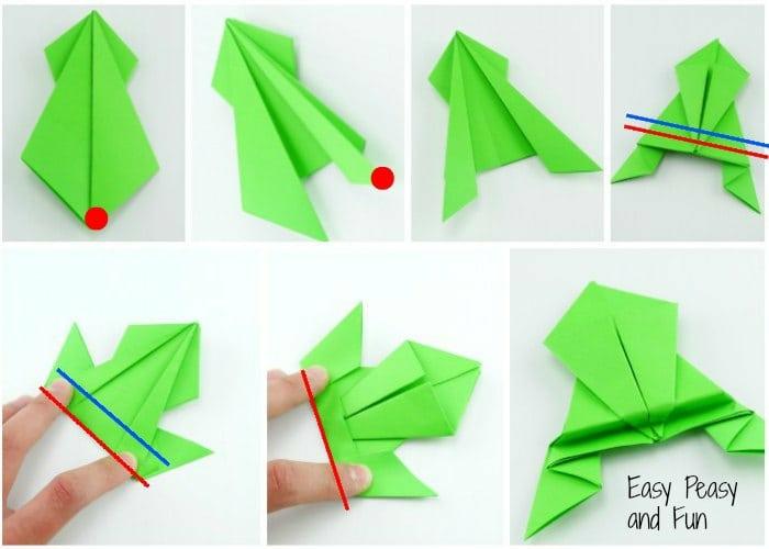como hacer una rana de papel DIY paso a paso, papiroflexia animales ideas originales para los pequeños