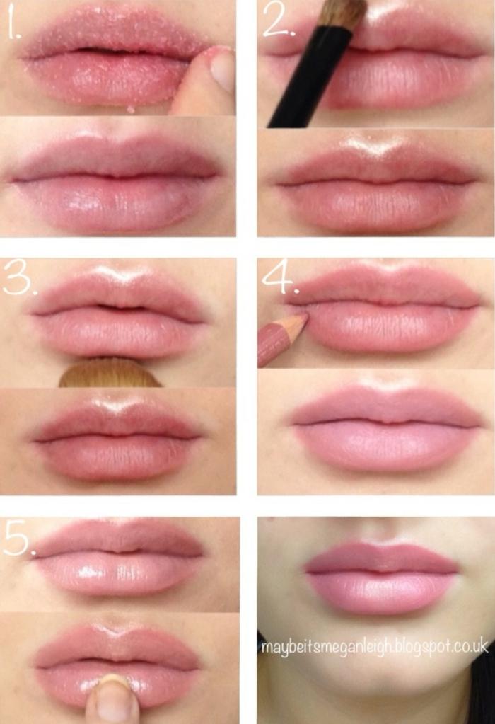 como conseguir unos labios gordos pintados en colores claros pastel paso a paso, tutoriales en fotos
