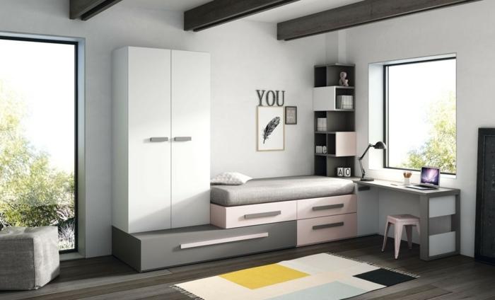 como decorar una habitacion pequeña, armarios de colores blanco, gris y rosa con suelo de parquet con alfombra