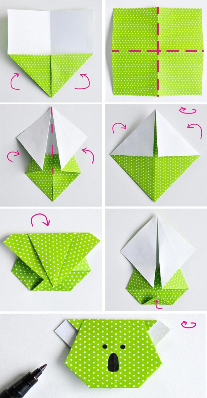 como hacer un koala origami de papel paso a paso, marcarpaginas manualidades originales