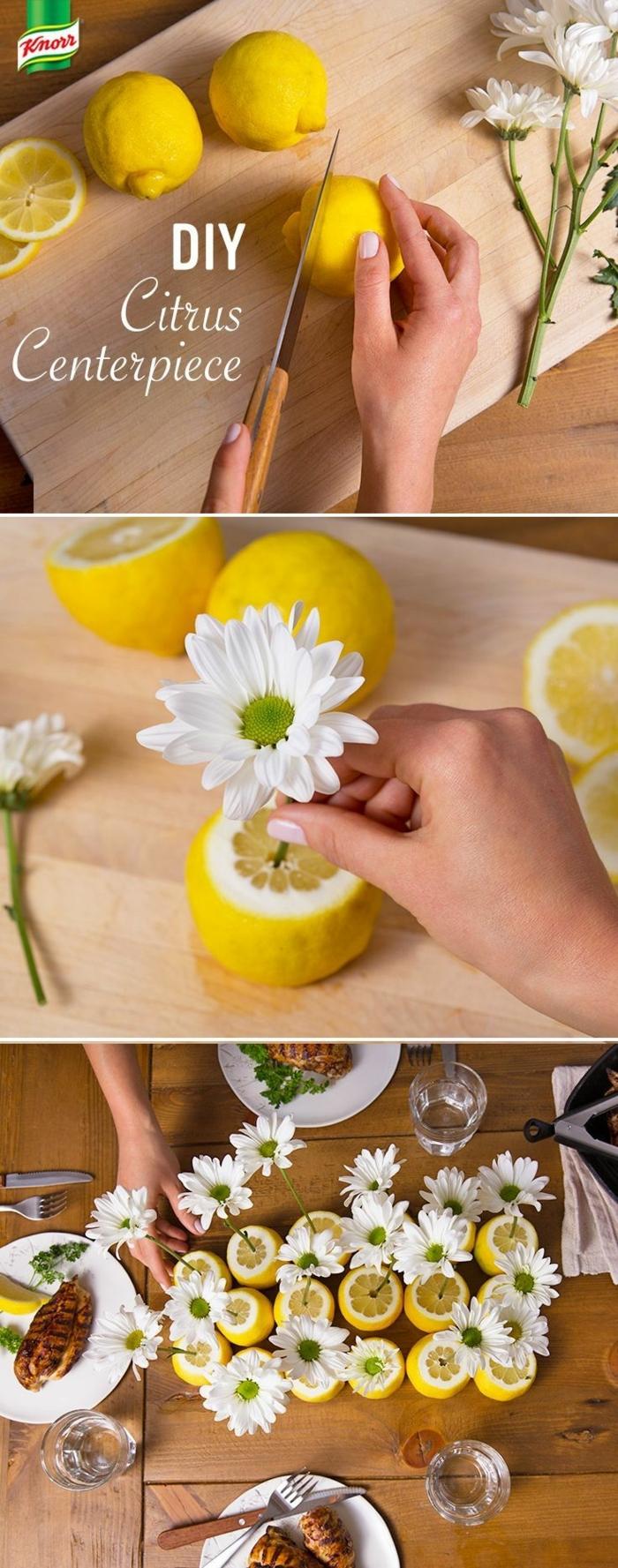 como hacer un centro de mesa super fresco y original con limones y flores, manualidades caseras