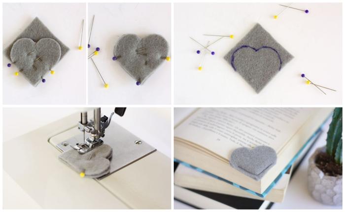 cómo hacer margarpáginas de fieltro en forma de corazón, manualidades para regalar fáciles