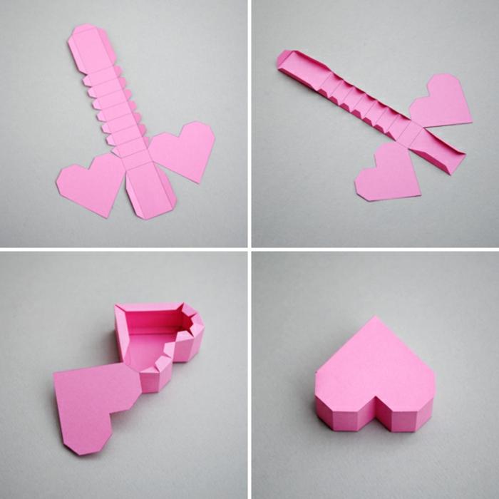 tutoriales en imágines papiroflexia para niños, corazones tridimensionales en origami para decorar la casa