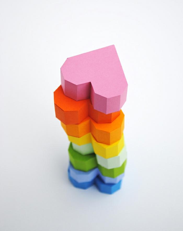corazones DIY 3D en los colores del arco iris, como hacer origami fácil, figuras tridimensional origami