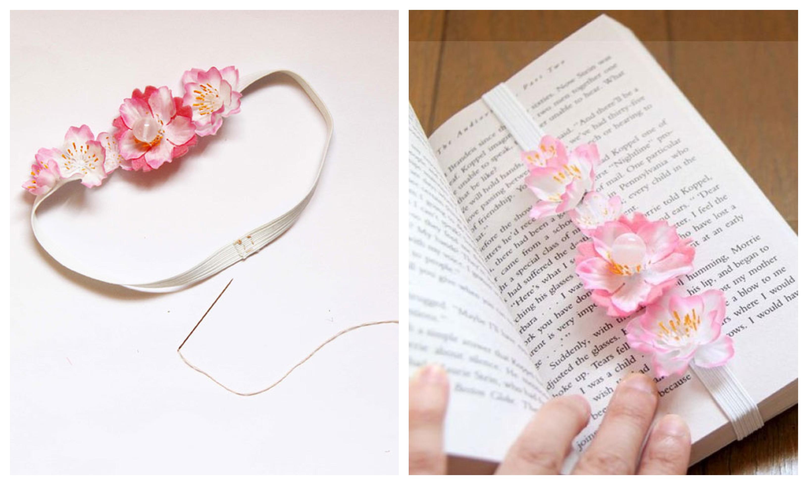 como hacer marcarpaginas decorativas, separadores de libros DIY paso a paso, preciosas ideas con flores