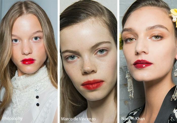 como maquillarse según las últimas tendencias, colores y texturas en tendencia, labios pintados en rojo brillante