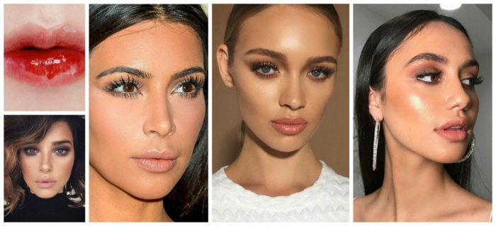 ideas sobre como maquillarse en tonos nude y en rojo brillante, últimas tendencias en el maquillaje