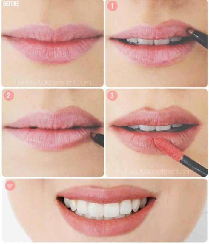 pasos sobre como pintar labios finos en fotos, labios delineados con lápiz rojo y barra de labios con aplicador