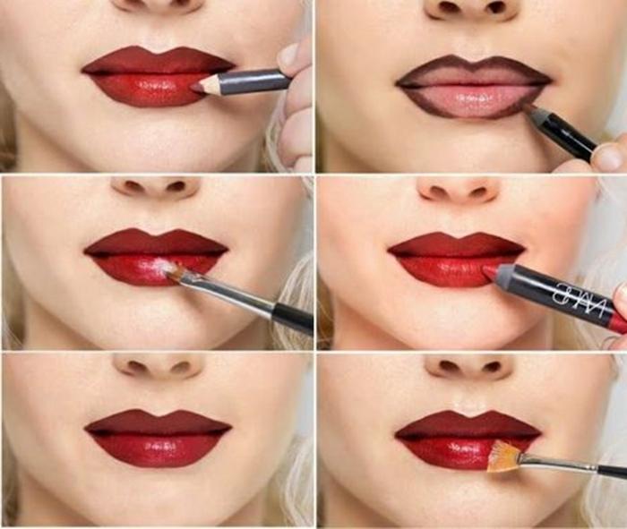 como aprender a maquillarse correctamente, labios en color rojo bordeos paso a paso