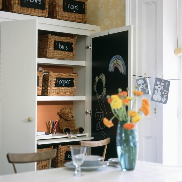 compactos juveniles, armario de color blanco con cajas de ratán con carteles negros en ellos