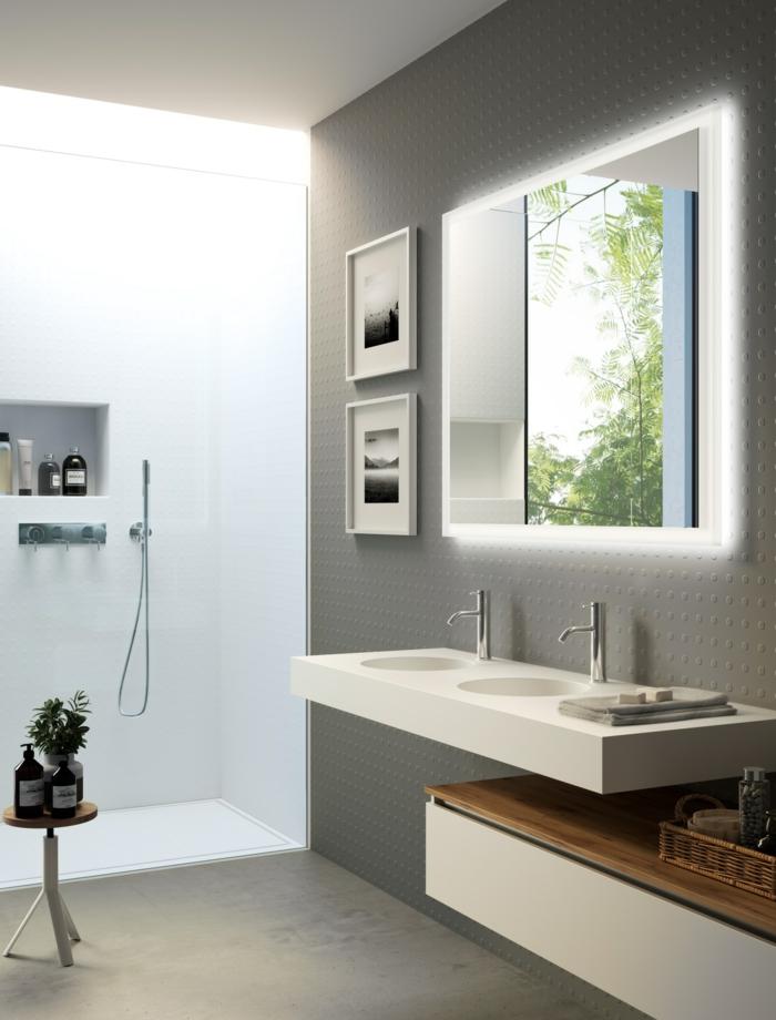 decoración moderna de encanto con suelo y paredes en gris, ideas de reforma baño pequeño