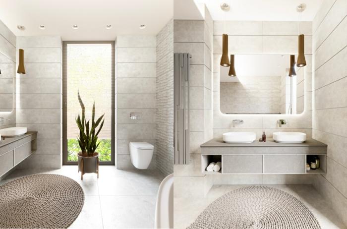 baños modernos con ducha de diseño, cuarto de baño decorado ne gris claro, alfombra de mimbre oval